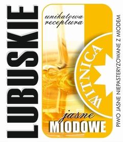 Etykieta piwna Lubuskie Miodowe Jasne (wersja bez zawartości alkoholu)