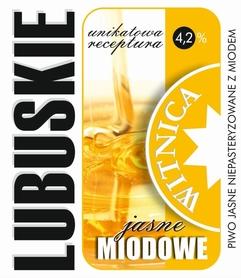 Etykieta piwna Lubuskie Miodowe Jasne (wersja z zawartością alkoholu)