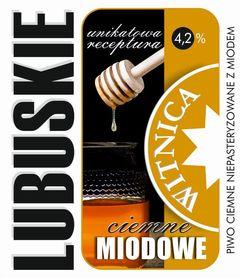 Etykieta piwna Lubuskie Miodowe Ciemne (wersja z zawartością alkoholu)
