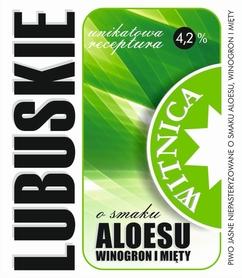 Etykieta piwna Lubuskie Aloesowe (wersja z zawartością alkoholu)