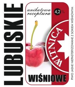 Etykieta piwna Lubuskie Wiśniowe (wersja z zawartością alkoholu)