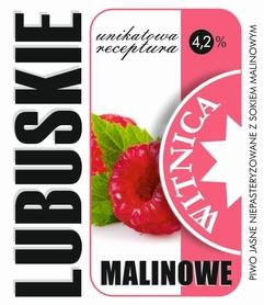 Etykieta piwna Lubuskie Malinowe (wersja z zawartością alkoholu)