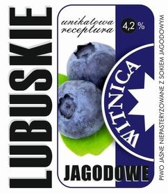 Etykieta piwna Lubuskie Jagodowe (wersja z zawartością alkoholu)