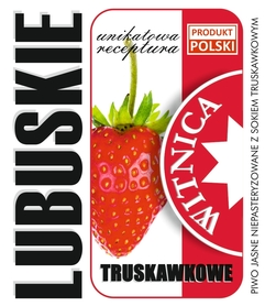 Etykieta piwna Lubuskie Truskawkowe (wersja ze znakiem Produkt Polski)
