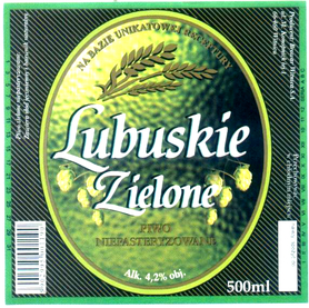 Etykieta piwna Lubuskie Zielone 500ml (rok: 2010)