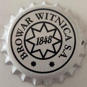 Kapsel piwny biały z logo browaru (sygnatura na 3)